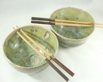 Chopstick Bowl /  One Ceramic Rice bowl or noodle bowl in lichen glaze - Thai food or pho bowl - kitchen dinnerware  - Colorado made pottery