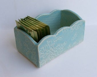 Ceramic Slab Built, Handmade ceramic box, Lacy  Blue Green