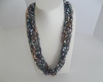 Fairy Dust Crochet Ladder Lace Necklace Trellis Ribbon Lace Fiber Yarn Blue Lavender Pink Peach Silver Metallic