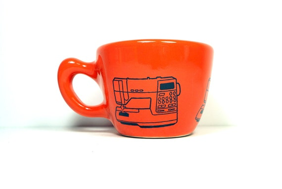 12oz cup with a Viking sewing machine print, shown on Clementine glaze - Made to Order/ Pick Your Colour