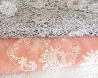 Lavender and pink fabrics,  embroidered fabrics, beaded fabrics,floral fabrics,  see listing for sizes