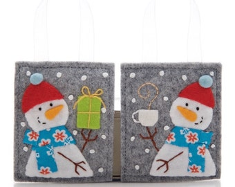 Felt Ornaments Set, Snowman Christmas Ornaments, Advent Calendar Gifts, Package Decorations, Stocking Stuffers