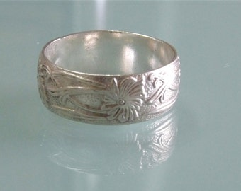 Antique Sterling Silver Band Ring Victorian engraved ring Eternity wedding ring