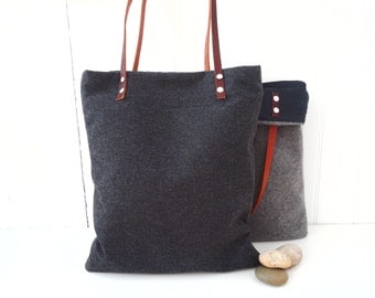 Laptop Bag Grey Wool Tote Leather Handles Laptop Tote