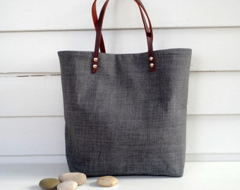 Linen Tote Leather Handles Beach Bag/Weekender Tote