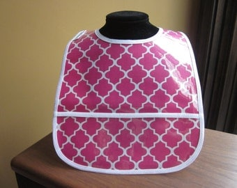 WATERPROOF WIPEABLE Baby to Todller Plastic Coated Bib Hot Pink and White Quatrifoil