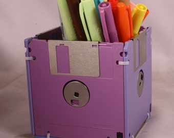Floppy Disk Pen and Pencil Holder (Shades of Lavender)