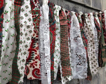 SALE CoUNTrY CHRiSTMaS Fabric Fringe BANNeR Baby PHoTO PRoP Ripped Rag Garland SHaBBY CHiC Basket Stuffer FoLK ArT Red Green White Brown RTS