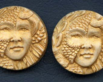 A Lot of 2 Polymer Clay Art Nouveau Golden Face Cabs Undrilled  SANP 1