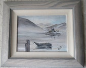 Vintage Row Boat at the Dock on the Water Original Acrylic Painting Framed Artist Signed, Rustic Beach Nautical