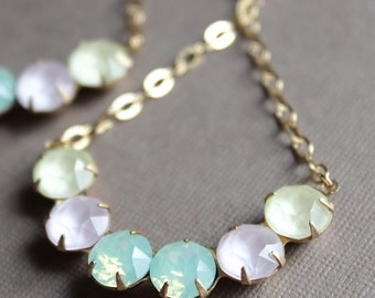 Pastel Swarovski Crystal Earrings - Gold Plated Chain & Leverback Earwires