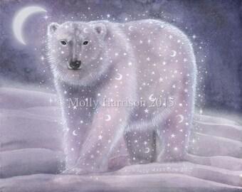 Night Sky Bear - Fantasy Polar Bear Wildlife Art - Stars and Moons - Mystical - 8 x 10 Fine Art Print by Molly Harrison Fantasy Art