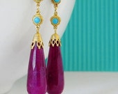 SALE Purple Jade Turquoise Rhinestone Long Art Deco Earrings