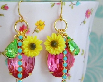 SALE Pink Turquoise Rhinestone Yellow Daisy Vintage Charm Earrings