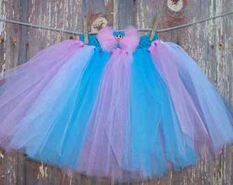 Size 2T-6 Pink and Blue Tutu with Matching Hair Bow