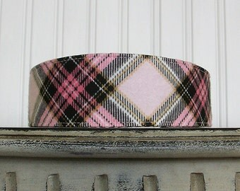 Pink and Black Plaid Headband - Fabric Headband - Flannel Headband - Womens Headband - Womens Hair Accessories