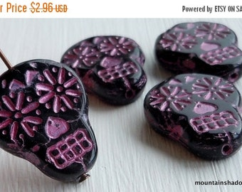 25% OFF Summer Sale NEW Czech Sugar Skull Beads - 20mm Skull Beads - Sugar Skull Beads -  Czech Glass Beads Jet with Pink Picasso - 4 Pack (