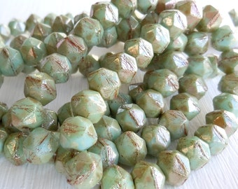 English Cut Czech Glass Beads 8mm Pale Turquoise Picasso - 20 (G - 16)