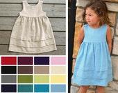 Coordinating Flower Girl Linen blend Dress  - COLOR OPTIONS