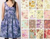 Custom Cotton V-Neck Fit and Flare Dress with Pockets  - County Floral Print Options