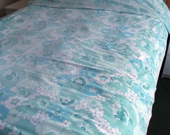 Vintage Bed Sheet - Green and Aqua Flowers and Leaves - good vintage conditon