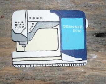 Sewing Machine Pin,Viking Designer Epic sewing pin. Brooch, Decorative Jewelry, stylish pin, sewing motif, collectible, sewing machine pin