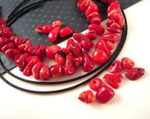 50 PERCENT OFF, RUSTIC Red Bamboo Coral Beads, 5mm, 12mm, Coral Nugget Beads, Coral Chip Beads, Coral Spacer Beads M066