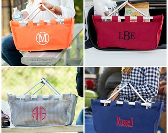 Monogrammed Market Tote | Personalized Collapsible Totes | Picnic or Tailgating Basket | Game Day Totes | Grocery Totes | Monogram Christmas