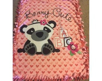 Berry Cute Bear Baby to Toddler Double Fleece Blanket Quilt