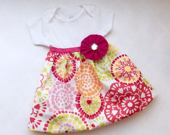 SHABBY CHIC vibrant summer one piece DRESS - baby girls or toddler girls clothing