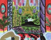 ORIGINAL PAINTING, 3 Black Cat Angels come back to Their Favourite Spot  in Paris, for Anniversary with cake and Ice Cream, by DM Laughlin