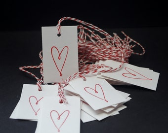 Hearts, hand stamped hang tags, set of 20, wedding favors, party favors, paper goods, gift tags, thank you tags, scrapbook embellishment