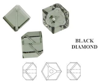 24 SWAROVSKI  6mm DIAGONAL CUBES in Black Diamond