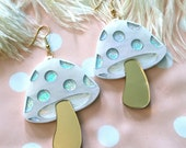 Pearly Gold and Glitter Mushroom Laser Cut Earrings