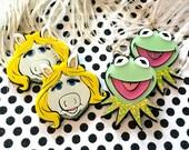 Miss Piggy and Kermit Laser Cut Earrings