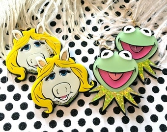 Miss Piggy and Kermit Laser Cut Earrings