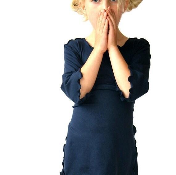 CHILDREN'S 3/4 SLEEVE TOP clothing| girls| shirts| best selling| trending items| handmade| navy| custom clothing