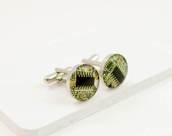 Circuit Board Cuff Links - Mustard Yellow - Circuit Board Jewelry - Geek Gift - Fathers Day Gift - Graduation Gift