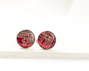 Red Circuit Board Cuff Links - Circuit Board Jewelry - Geeky Groomsmen Gifts - Gift for Engineer