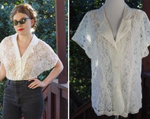 VANILLA 1980's 90's Vintage Sheer White Lace Blouse with Satin Collar // size Large // by VICTORIA'S Secret