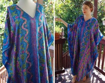 AZURE 1970's Vintage Blue + Purple Floral Muumuu Robe w/ Roses // by WINLAR // size Large One Size