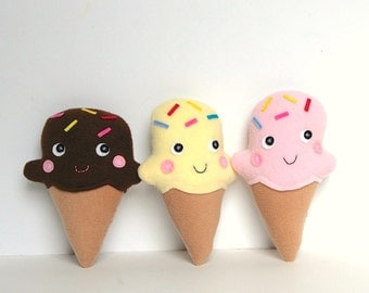 Ice Cream Cone Softie, Play Food, Soft Toy for Baby and Toddler, Food Plush