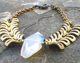 opalite bracelet on chevron chain, vintage brass rustic jewelry