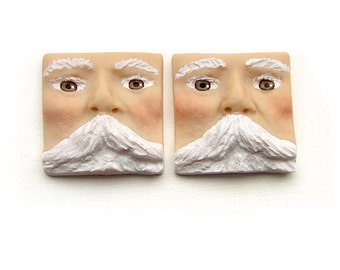 Santa Claus Set of 2 Square Christmas Face Cabs Polymer Clay Art Doll Cabochons White Beard Mustache Brown Eyes Holiday Winter 3444
