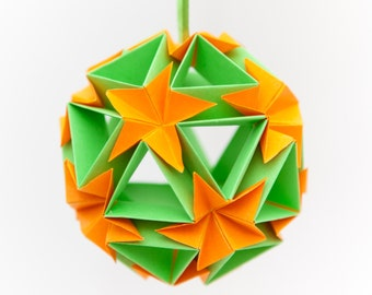 Flower Ball Origami Ornament, Hanging Home Decor, Paper Ornaments, Christmas Tree Decoration, Paper Christmas Tree Ornaments, Green + Orange