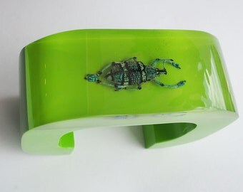 Bright green cuff lucite bracelet with a real insect
