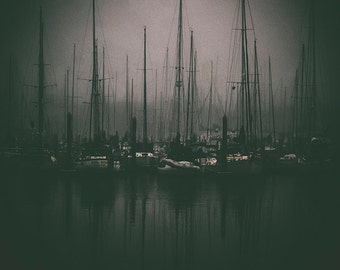 Black and White Coastal Fog Photography, Sailboats in a Texas Gulf Coast Marina, Haunting Photos