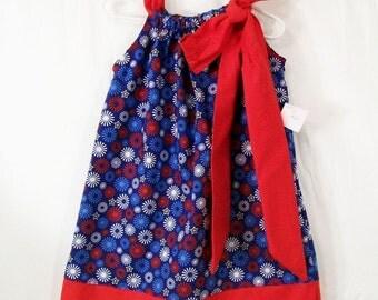 Girls Red White and Blue Pillowcase Dress, Toddler Girls Dress, Size 3T Ready to ship, handmade Girls dress