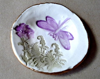 Ceramic Dragonfly Ring Holder Dish  3  1/2 inches round