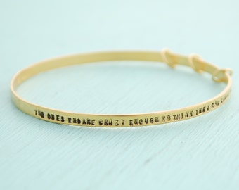 "Activist Bangle ""Crazy enough to change the world"" eco-friendly silver. Handcrafted by Chocolate and Steel"